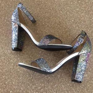 a3578126ecf BAMBOO Shoes - NWOT Rainbow silver glitter block heels!